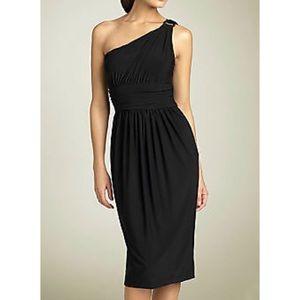Maggy London One-Shoulder Midi Party Sheath Dress